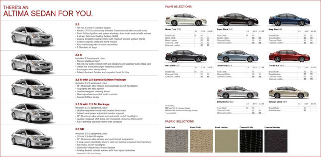 nissan altima 2012 types